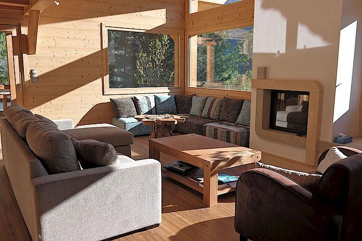 Salon chalet Lombard Vasina. Déco intérieur bois rustique ou contemporain