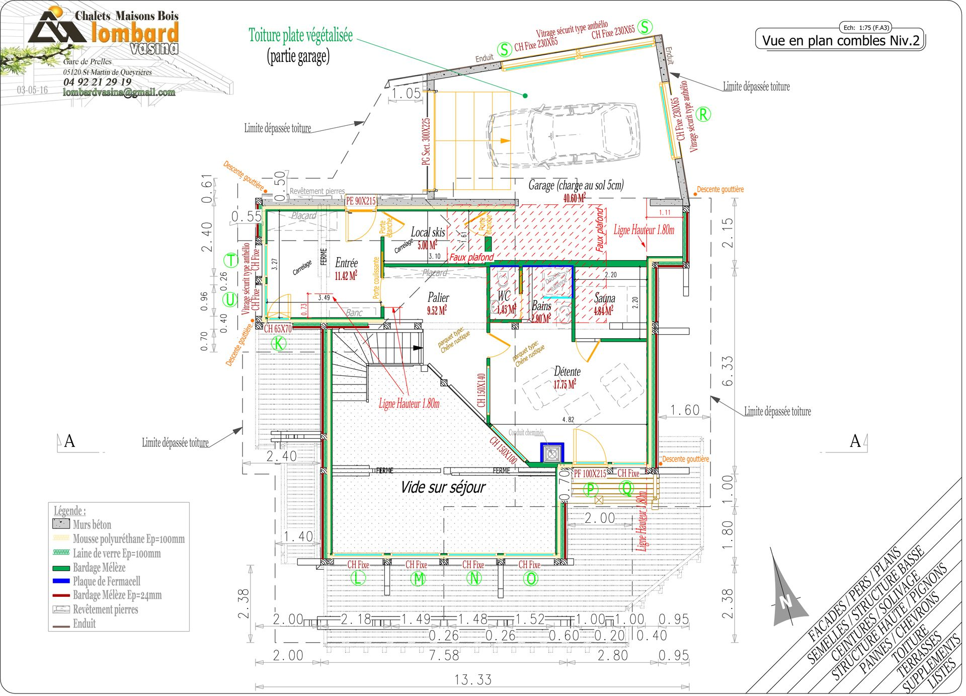Chalet plan draw by Lombard Vasina. computer drawing